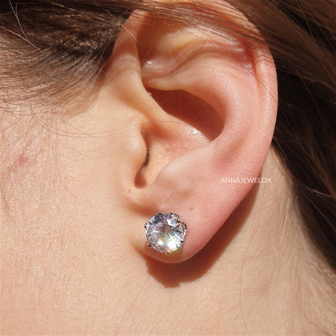Image of Sparkling Silver Diamante Bridal Stud Earrings - AnnaJewelBox