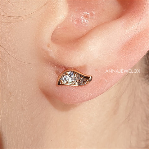 Image of Sparkling Diamante Gold Guardian Angel Wings Stud Earrings - AnnaJewelBox