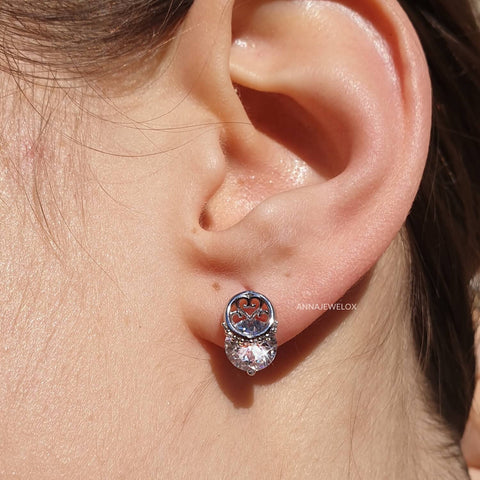 Sparkling Silver Diamante Crystal Stud Earrings - AnnaJewelBox