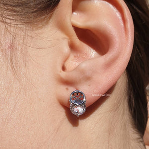 Sparkling Silver Diamante Crystal Bridal Stud Earrings - AnnaJewelBox