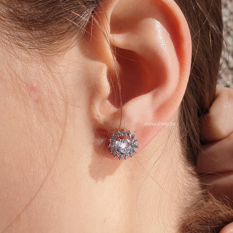 Image of Sparkling Silver Crystal Bridal Stud Earrings - AnnaJewelBox