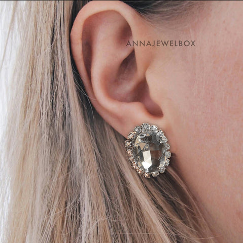 Image of Crystal Statement Stud Earrings - AnnaJewelBox