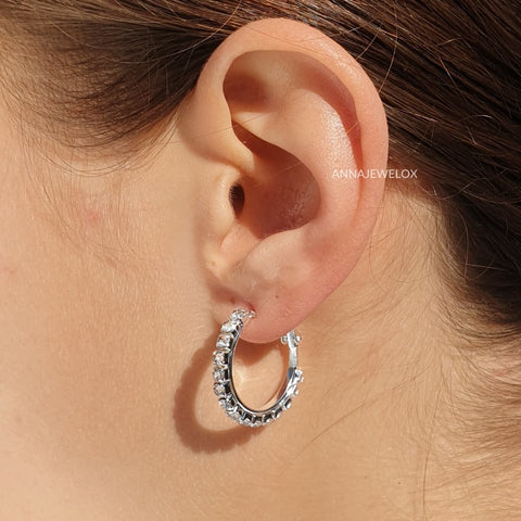 Image of Sparkling Silver Crystal Hoop Bridal Earrings - AnnaJewelBox