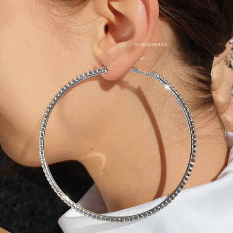 Sparkling Silver Crystal Hoop Bridal Earrings - AnnaJewelBox