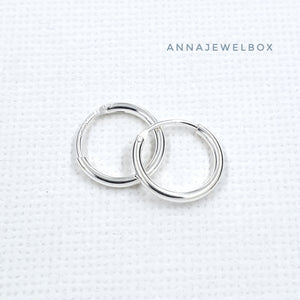 925 Sterling Silver Hoop Earrings Small Medium Large - AnnaJewelBox