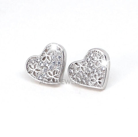 Sparkling Hearts Diamante Crystal Stud Earrings - AnnaJewelBox