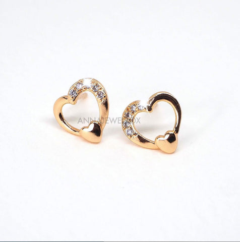 Gold Sparkling Diamante Hearts Stud Earrings