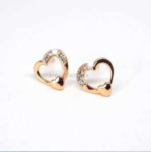 Gold Sparkling Diamante Hearts Stud Earrings - AnnaJewelBox