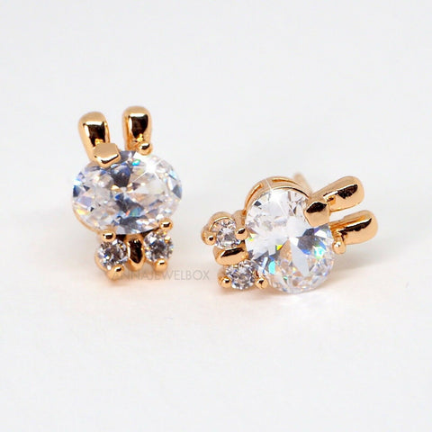 Image of Sparkling Gold Bunny Diamante Stud Earrings - AnnaJewelBox