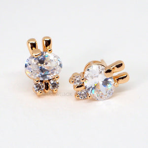 Sparkling Gold Bunny Diamante Stud Earrings - AnnaJewelBox