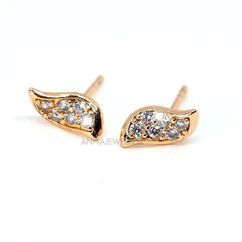 Sparkling Diamante Gold Guardian Angel Wings Stud Earrings - AnnaJewelBox