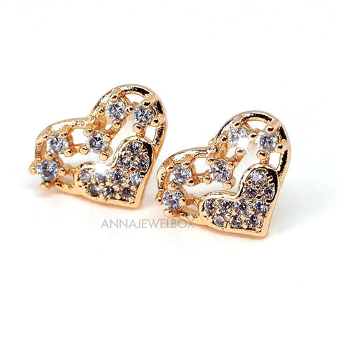Sparkling Hearts Diamante Crystal Gold Stud Earrings