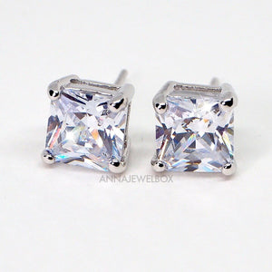 Princess Cut Sparkling Silver Diamante Stud Earrings - AnnaJewelBox