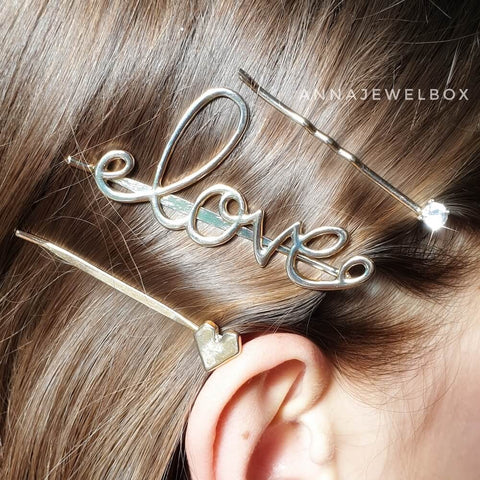Diamante Love Hair Clip Barrette Set - AnnaJewelBox
