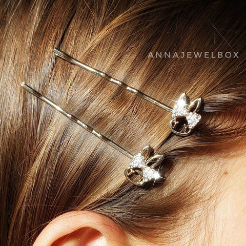 Crystal Bunnies Hair Clip Barrette Set - AnnaJewelBox