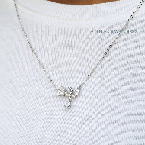 Image of Twinkle Star 925 Sterling Silver Crystal Pendant Necklace - AnnaJewelBox