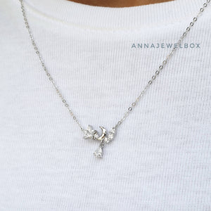 Twinkle Star 925 Sterling Silver Crystal Pendant Necklace - AnnaJewelBox
