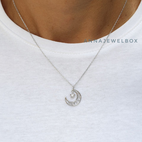 Image of Love Moon 925 Sterling Silver Crystal Star Diamante Pendant Necklace - AnnaJewelBox