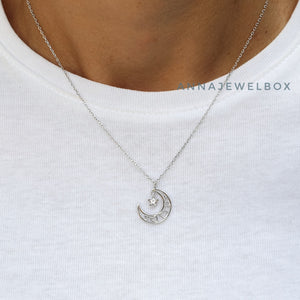 Love Moon 925 Sterling Silver Crystal Star Diamante Pendant Necklace - AnnaJewelBox