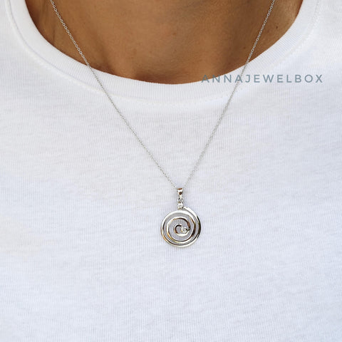 Journey Sterling Silver Diamante Spiral Necklace - AnnaJewelBox
