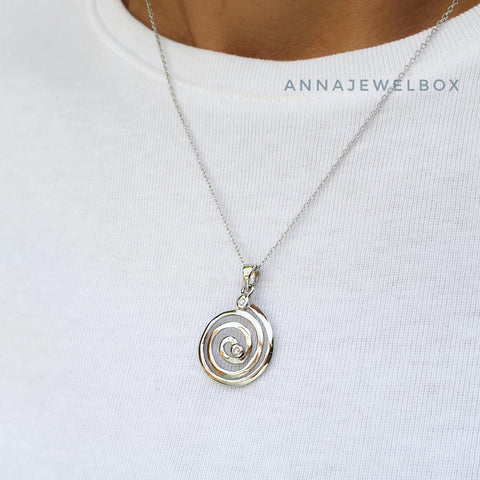 Image of Journey Sterling Silver Diamante Spiral Necklace - AnnaJewelBox