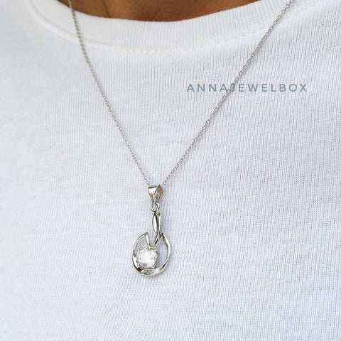 Image of Teardrop 925 Sterling Silver Diamante Necklace - AnnaJewelBox