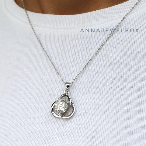 Image of Faith 925 Sterling Silver Crystal Necklace - AnnaJewelBox