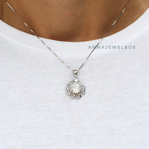Sparkling Sun 925 Sterling Silver Crystal Necklace - AnnaJewelBox