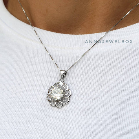 Image of Sparkling Sun 925 Sterling Silver Crystal Necklace - AnnaJewelBox