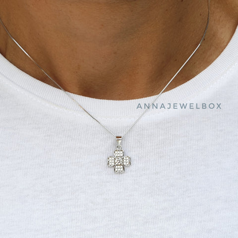 Image of Lucky Shamrock 925 Sterling Silver Crystal Necklace - AnnaJewelBox