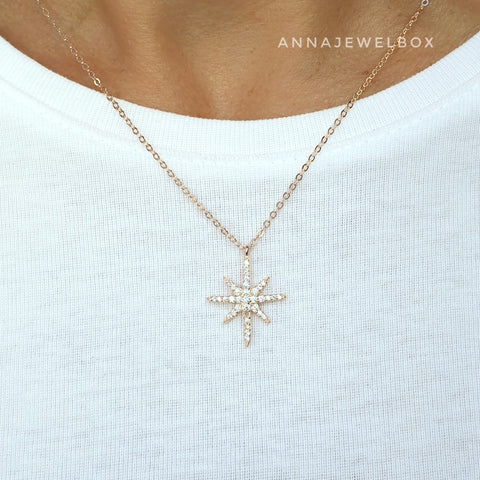 Image of 925 Sterling Silver Gold Plated Vermeil Star Necklace - AnnaJewelBox