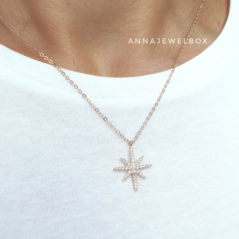 925 Sterling Silver Gold Plated Star Necklace - AnnaJewelBox