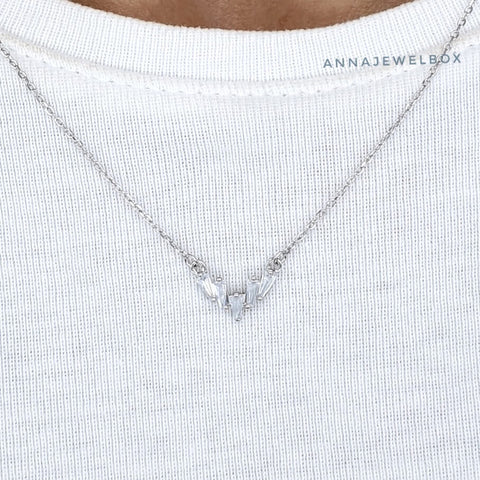 Image of Crystal Shard 925 Sterling Silver Necklace - AnnaJewelBox