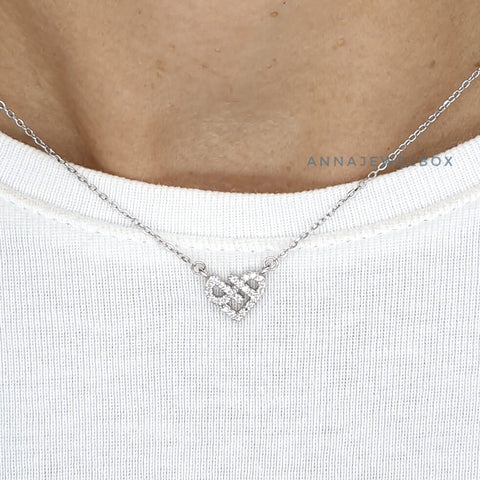 Image of Crystal Heart 925 Sterling Silver Charm Pendant Necklace - AnnaJewelBox