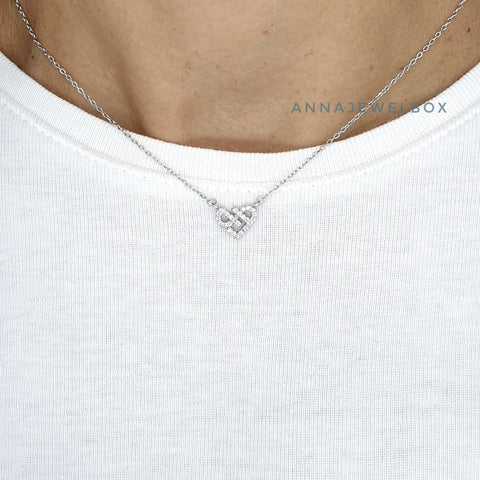 Crystal Heart 925 Sterling Silver Charm Pendant Necklace - AnnaJewelBox