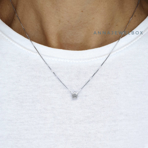 Sparkling Star 925 Sterling Silver Pendant Necklace - AnnaJewelBox