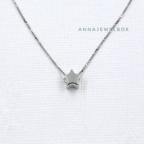 Image of Sparkling Star 925 Sterling Silver Pendant Necklace - AnnaJewelBox