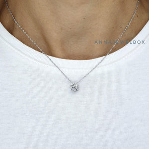 Origami Crystal 925 Sterling Silver Necklace - AnnaJewelBox