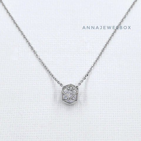 Image of Origami Crystal 925 Sterling Silver Necklace - AnnaJewelBox