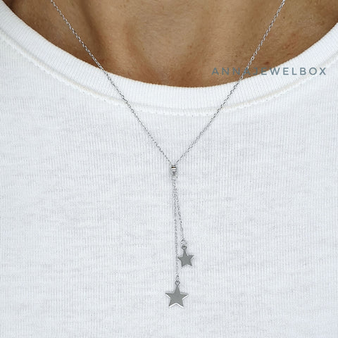 Shooting Stars 925 Sterling Silver Charm Pendant Necklace - AnnaJewelBox