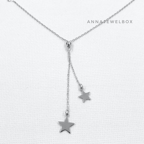 Image of Shooting Stars 925 Sterling Silver Charm Pendant Necklace - AnnaJewelBox
