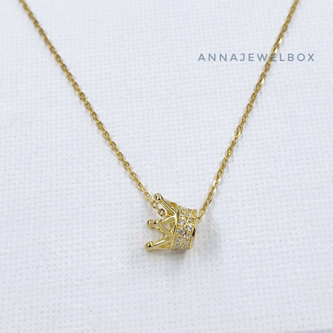 Gold Plated 925 Sterling Silver Diamante Queen Tiara Crown Necklace - AnnaJewelBox