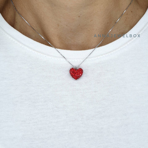 Love Heart 925 Sterling Silver Charm Diamante Pendant Necklace - AnnaJewelBox