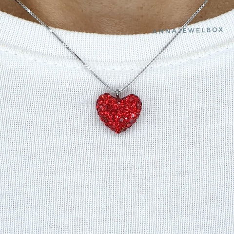 Image of Love Heart 925 Sterling Silver Charm Diamante Pendant Necklace - AnnaJewelBox