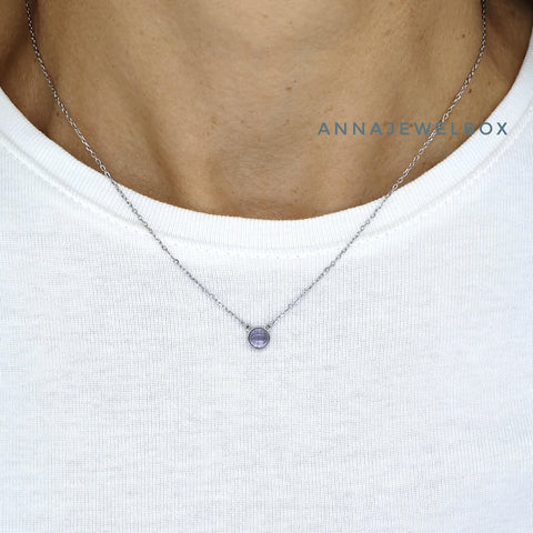 Blue Moon 925 Sterling Silver Crystal Pendant Necklace - AnnaJewelBox