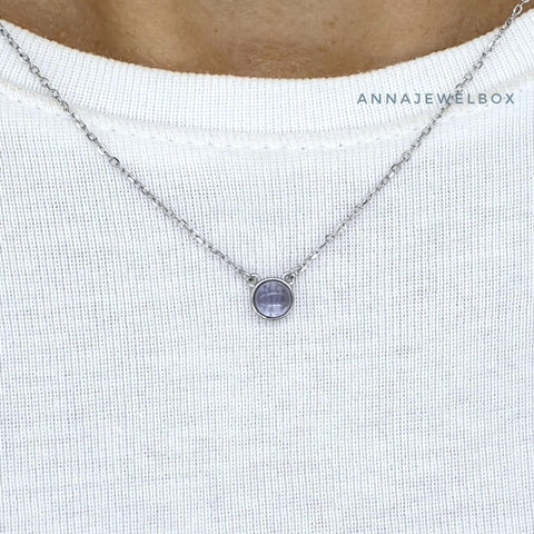 Image of Blue Moon 925 Sterling Silver Crystal Pendant Necklace - AnnaJewelBox