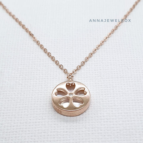 Image of Love Flower Reversible Gold Plated 925 Sterling Silver Charm Necklace - AnnaJewelBox