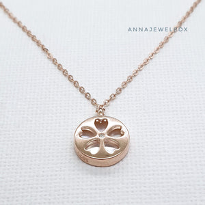 Love Flower Reversible Gold Plated 925 Sterling Silver Charm Necklace - AnnaJewelBox