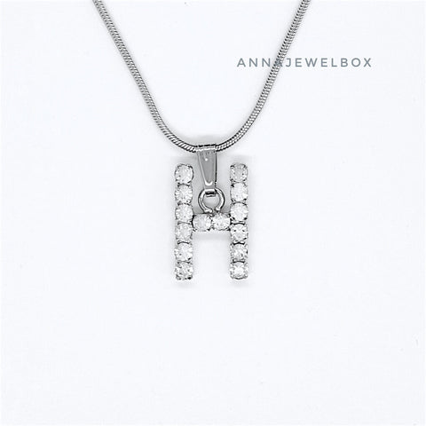 925 Sterling Silver Single Letter Initial Necklace - AnnaJewelBox