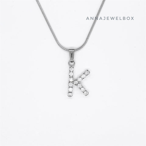 Image of 925 Sterling Silver Single Letter Initial Necklace - AnnaJewelBox